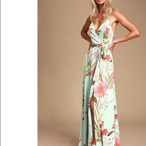 Lulus Still The One Sage Green Floral Print Dress